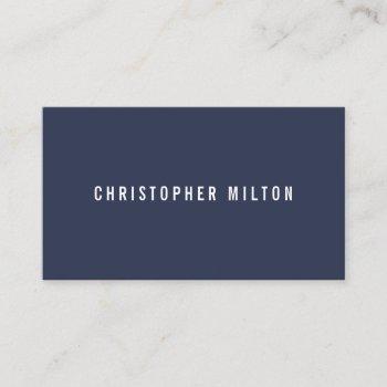professional minimalist dark blue white consultant business card