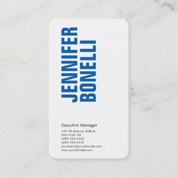 professional minimalist modern bold blue white business card