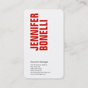 professional minimalist modern bold red white business card