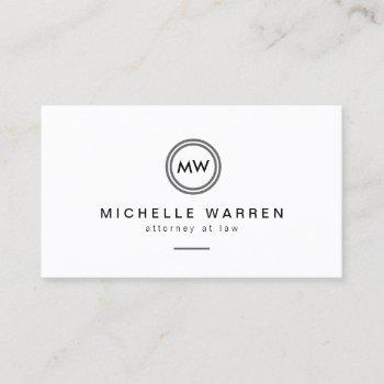 professional minimalist modern circle monogram business card