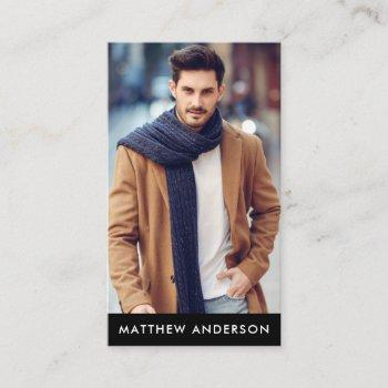 professional model actor photo black business card