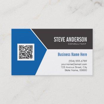 professional modern blue - corporate qr code logo business card
