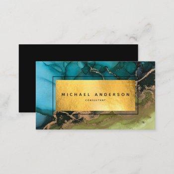 professional modern gold black teal business card