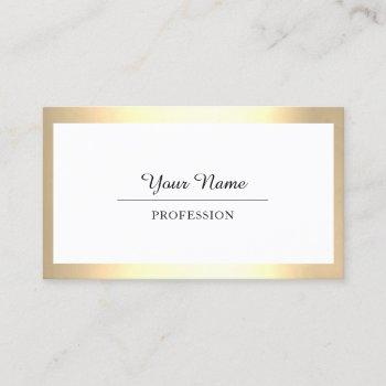 professional modern golden simply minimalism white business card