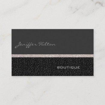 professional modern luxury chic leopard glittery business card