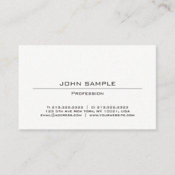professional modern minimalist simple design white business card