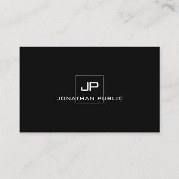 professional modern monogram elegant black white business card