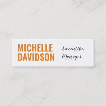 professional modern orange white minimalist plain mini business card