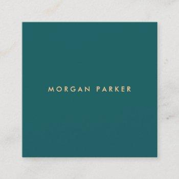 professional modern simple teal square square business card
