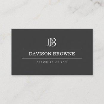 professional monogram dark gray business card