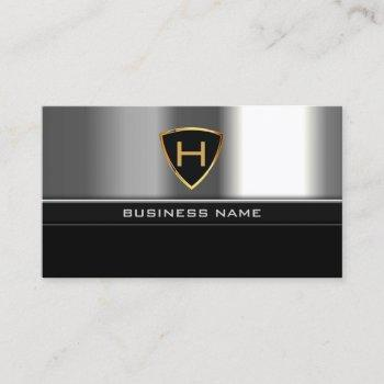 professional monogram gold shield steel metal business card