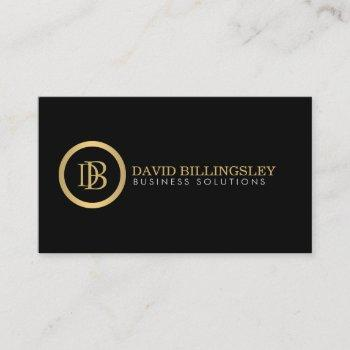 professional monogram logo in faux gold black business card