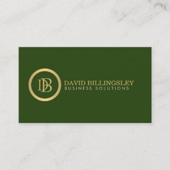 professional monogram logo in faux gold dark green business card
