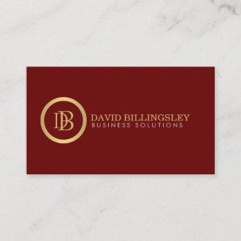 professional monogram logo in faux gold dark red business card