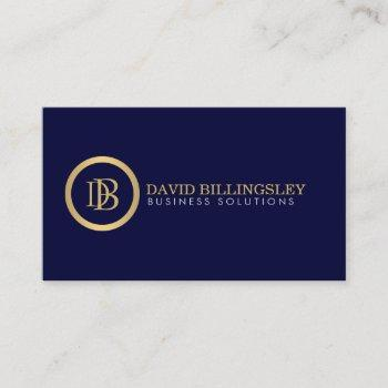 professional monogram logo in faux gold navy blue business card