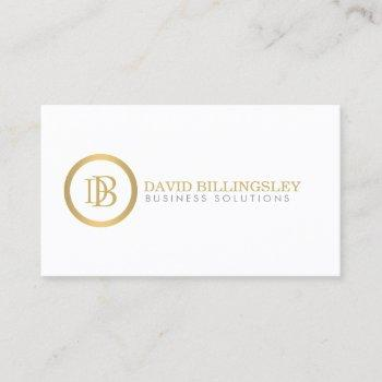 professional monogram logo in faux gold white business card