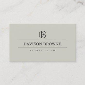 professional monogram taupe business card