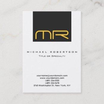 professional monogram white grey business card
