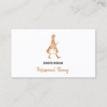 professional nanny rose gold silhouette babysitter business card