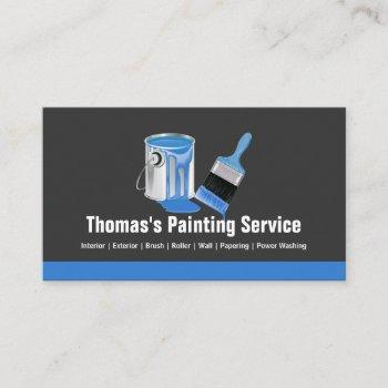 professional painting service - blue painter brush business card
