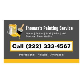 Small Professional Painting Service Painter Paint Brush Business Card Magnet Front View