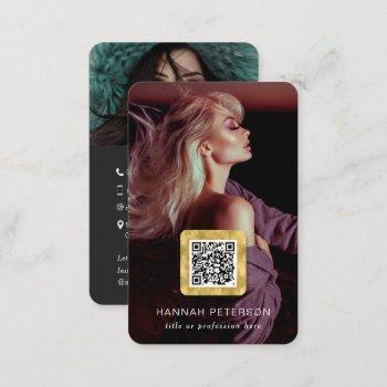 professional photos qr code modern stylish gold business card