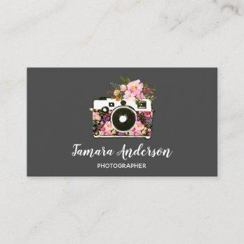 professional pink floral camera photographer gray business card