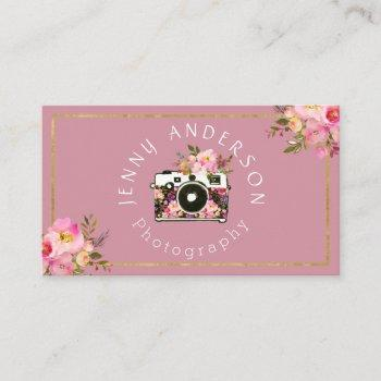 professional pink gold floral camera photographer business card