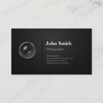 professional plain black - camera photographer business card