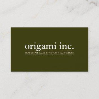 professional plain modern simple smart olive green business card