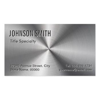 Small Professional Plain Sliver Radial Metallic Look Business Card Magnet Front View
