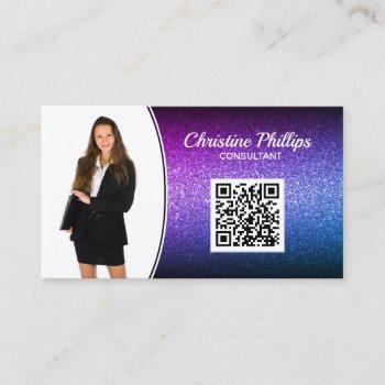 professional purple ombre glitter custom photo qr business card