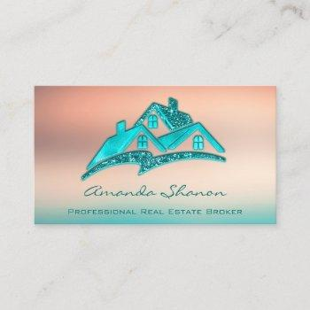 professional real estate agent broker blue house business card