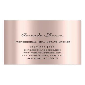 Small Professional Real Estate Broker Agent Rose Gold Business Card Back View