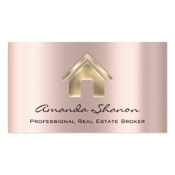 Small Professional Real Estate Broker Agent Rose Gold Business Card Front View
