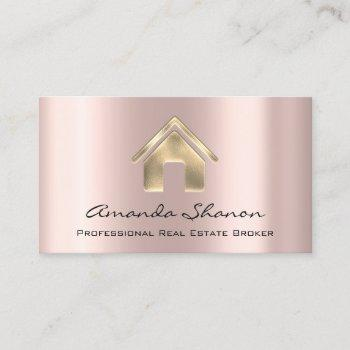 professional real estate broker agent rose gold business card