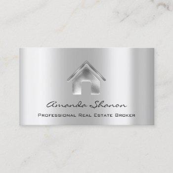 professional real estate broker agent silver sell business card