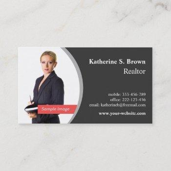 professional realtor left photo business cards