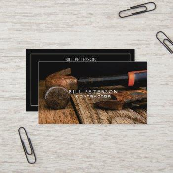 professional rustic construction contractor hammer business card