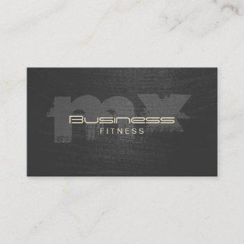 professional scratched dark monogram fitness business card