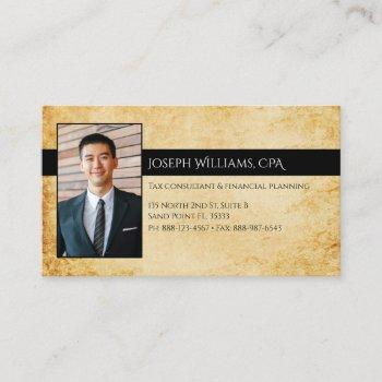 professional vintage parchment cpa accountant tax business card