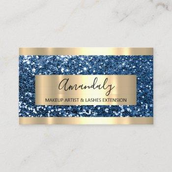 professionalglitter blue navy gold modern luminous business card