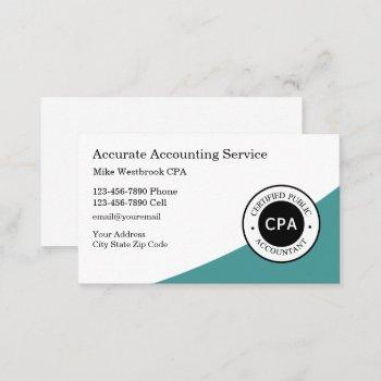 professionally designed cpa accountant business card