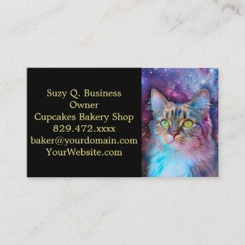 proud cat with space background business card