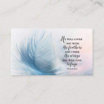 psalm 91:4 he will cover you with his feathers business card