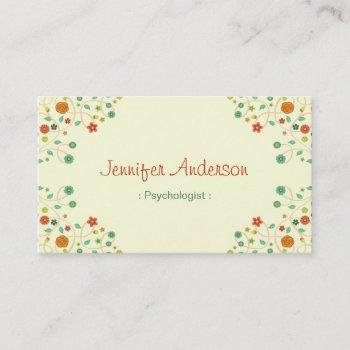 psychologist - chic nature stylish business card