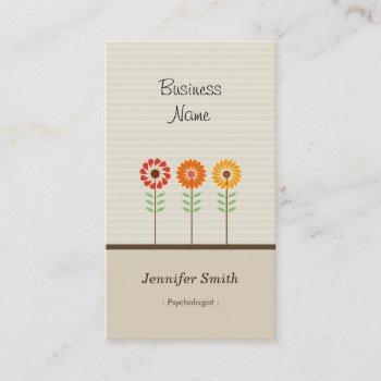 psychologist - cute floral theme business card