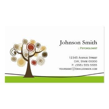 Small Psychologist - Elegant Tree Of Life Symbol Business Card Front View