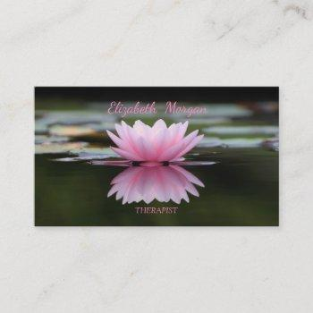 psychologist therapist zen, lotus flower business card