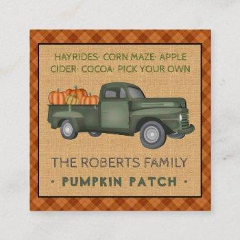 pumpkin patch family farm vintage truck fall plaid square business card